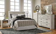Bellaby Whitewash 5 Pc. Dresser, Mirror, Queen Panel Headboard Bed & 2 Nightstands