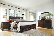 Porter Rustic Brown 6 Pc. Dresser, Mirror, King Sleigh Storage Bed & Nightstand