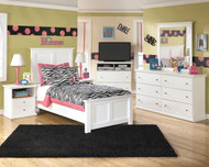 Bostwick Shoals White Dresser, Mirror, Twin Panel Bed & 2 Nightstands