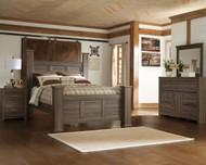 Juararo Dark Brown 6 Pc. Dresser, Mirror, Queen Poster Bed & Nightstand