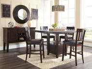 Haddigan Dark Brown Pc. Rectangular Extension Dining Set
