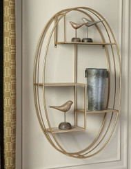 Elettra Natural/Gold Finish Wall Shelf