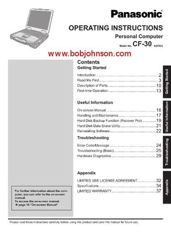 Panasonic Toughbook CF-30 Operating Instructions Manual