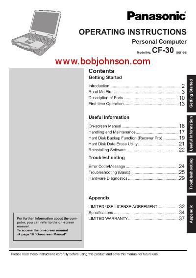 Bob Johnson Chevrolet >> Panasonic Toughbook CF-30 Operating Instructions Manual ...