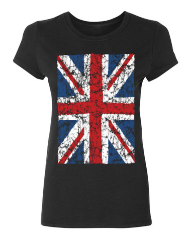 Union Jack British Flag Ladies T-Shirt, black