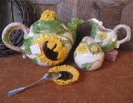 Sunflower Cream Pitcher & Sugar Bowl Set Ceramic Earthenware