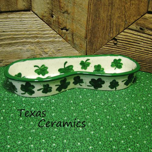 Modern style eye glass holder or tray with Kelly green shamrock design made in the USA