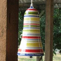 Wind Bell Wind Chime Hand Painted Bands of Color with Glass Bead Accent Southwest Design
