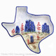 Large size Texas shaped dish with hand painted bluebonnet wildflowers.