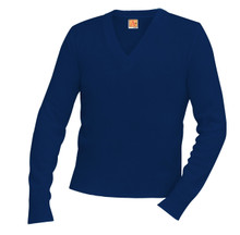 Sweater V-Neck Pullover with School Logo