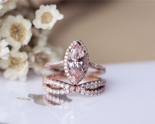 Unique Morganite Ring Set Solid 14K Rose Gold Marquise Morganite