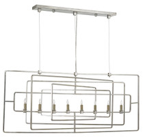 Metro Rectangular Chandelier By Currey & Company, Contemporary Silver Leaf finish