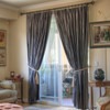 100% silk drapes (shown in Neutral Grey) exclusively for LAUREL AT SUNSET.  Priced per panel. Dry clean only.