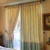 100% silk drapes (shown in natural and seafoam) exclusively for LAUREL AT SUNSET. Priced per panel. Dry clean only.