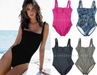 WOMENS CALVIN KLEIN ONE PIECE PLEATED FRONT SWIMSUIT!