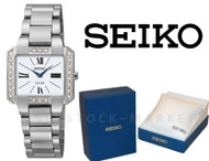 Women's Seiko Core Solar Diamond Accented Square Dial Watch SUP237