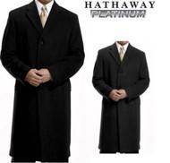 MEN'S HATHAWAY PLATINUM WOOL & CASHMERE BLEND TOP COAT OVERCOAT