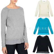 WOMEN'S DKNYC PULLOVER BOAT NECK SWEATER WITH CHIFFON HEM DETAIL