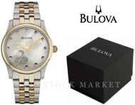 Womens Bulova Two Tone Stainless Steel 11 Diamond Accented MOP Watch 98P152