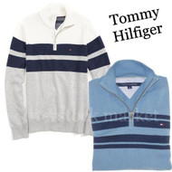 MENS TOMMY HILFIGER 1/4 ZIP MOCK NECK LOGO PULLOVER SWEATER