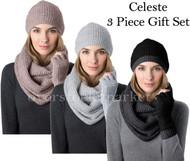 WOMENS CELESTE CASHMERE & WOOL BLEND INFINITY SCARF, HAT & GLOVE SET VARIETY