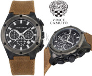 Vince Camuto Brown Leather Strap Chronograph Watch! VC/1064BKBN