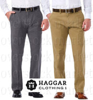 MENS HAGGAR STRAIGHT FIT FLAT FRONT SUSTAINABLE STRETCH CHINO PANT