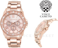 Vince Camuto Rose Gold Tone Crystal Accented Watch VC/5158RGRG