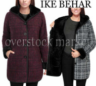 WOMENS IKE BEHAR PLUSH LINED HOODED JACKET! SUPER SOFT BUTTON FRONT