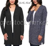 Women's Leo & Nicole Textured Weave Open Front Long Cardigan Sweater