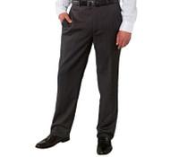 1006162-MEN KIRKLAND SIGNATURE GARBADINE WOOL FLAT FRONT DRESS PANT