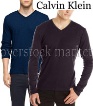 MENS CALVIN KLEIN LIFESTYLE LONG SLEEVE  V-NECK CLASSIC T-SHIRT!