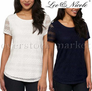 Womens Leo & Nicole Lace Detail Overlay Short Sleeve Shirt! Lace Overlay Top!