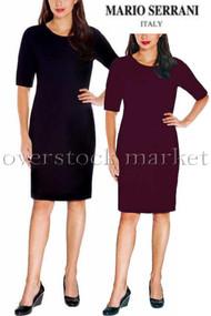 WOMENS MARIO SERRANI ITALY TEXTURED KNIT STRETCH DRESS! ELBOW SLEEVE!