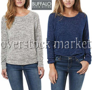 WOMEN BUFFALO DAVID BITTON RAGLAN SLEEVE COZY CREW NECK PULLOVER TOP