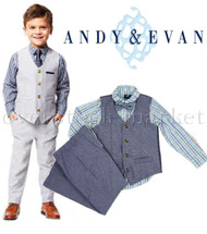 BOYS ANDY & EVAN 4 PIECE DRESS SUITS OUTFITS!