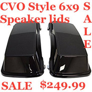 6 X 9 SPEAKER LIDS - VIVID BLACK CVO STYLE FOR HARLEY TOURING 1996-2013