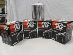 K&N CHROME OIL FILTER  V-TWIN HARLEY DAVIDSON LOT OF 4  KN 170C  CHROME