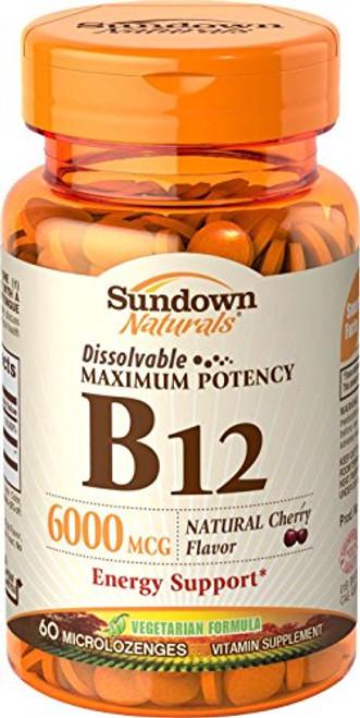Sundown Naturals Sublingual B-12 6000 Mcg Tablets, 60 ct, 1 Ea
