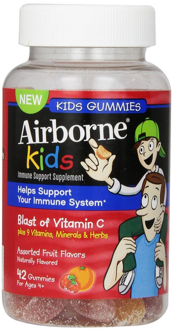 Airborne Kids Immune Support  Gummies with Vitamin-C, Assorted Fruit, 42 ct, 1 Ea