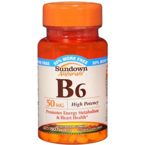 Sundown Naturals Vitamin B-6 50 mg Tablets, 150 ct, 1 Ea