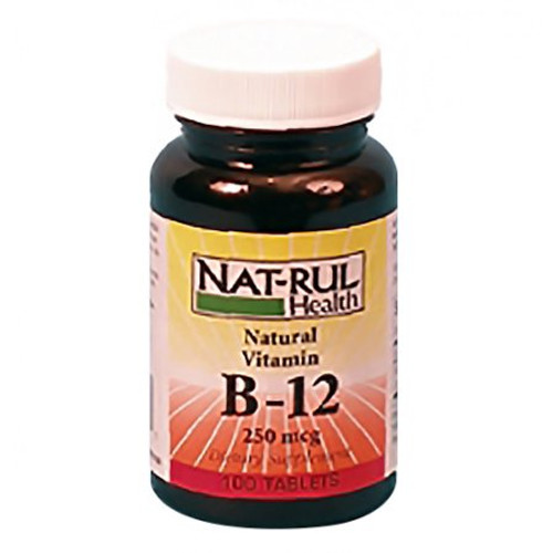 Nat-Rul Health Vitamin B-12 250 mcg Tablets, 100 ct, 1 Ea