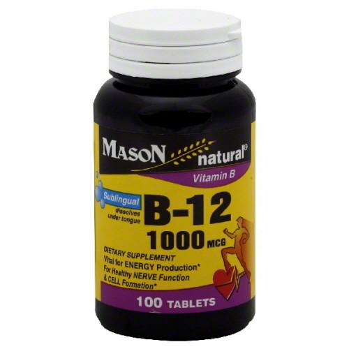 Mason Natural Sublingual Vitamin B-12 1000 mcg  Tablets, 100 ct, 1 Ea