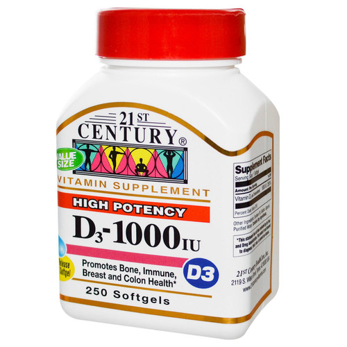 21St Century High Potency Vitamin-D3 1000 IU Softgels, 200 ct, 1 Ea