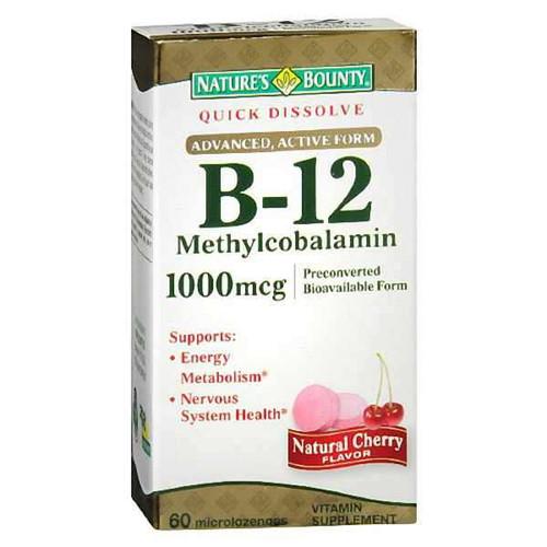Natures Bounty Quick Dissolve Vitamin B-12 1000 mcg, 60 ct, 1 Ea