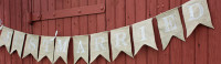 """PS12 - """"Just Married"""" Burlap Banner"""