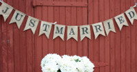 """PS12B - """"Just Married"""" Burlap Banner"""