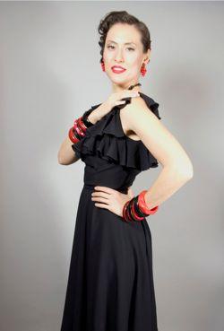1970s dress black ruffles flamenco 70s disco dress