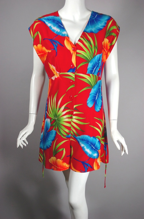 vintage romper red rayon tropical print 70s does 40s playsuit