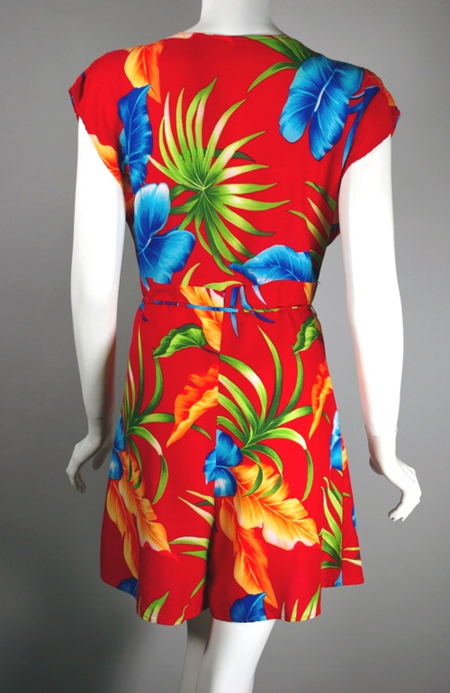 red rayon print playsuit romper late 70s 80s